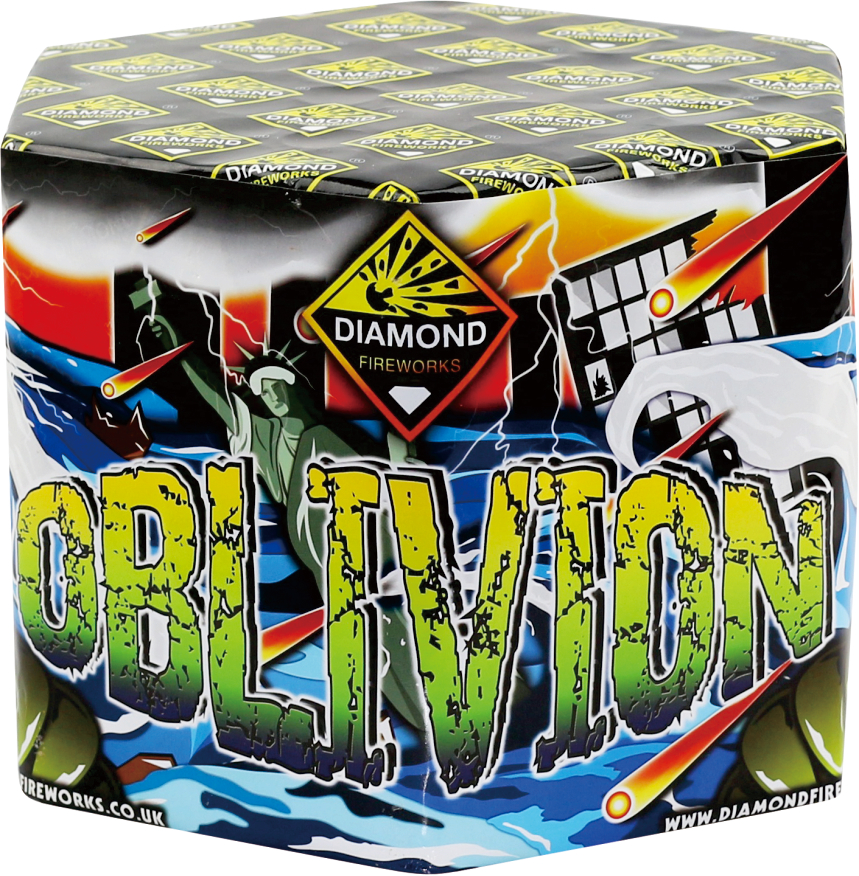 OBLIVION 61 SHOTS - RRP £90.00 - REDESIGNED FOR 2017, THIS BARRAGE IS ONE THAT WILL DEFINITELY NOT FADE IN TO OBLIVION. CONTAINING 61 AWESOME SHOTS, THEY RIP ACROSS THE AIR, PULSATING INTO A HUGE BURST THAT WILL CAUSE MAYHEM!