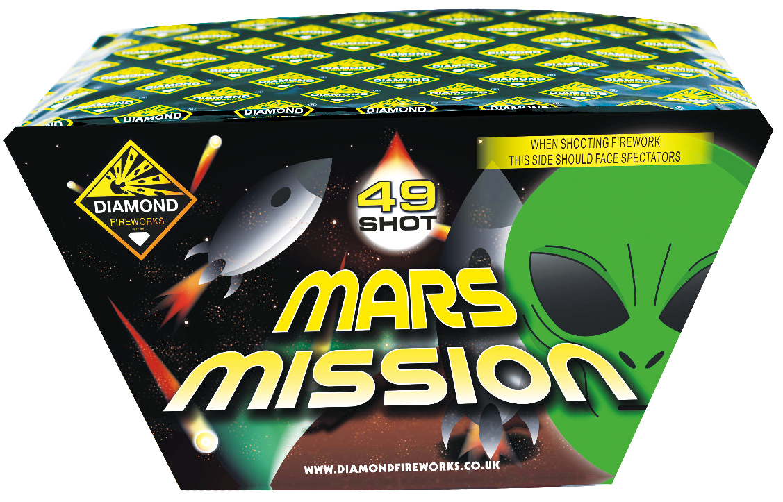 MARS MISSION 49 SHOT FAN - RRP £115.00 - THE MARS MISSION WILL LAUNCH INTO THE COSMOS AND BOLDLY IGNITE THE DARKNESS WITH COLOUR. A RANGE OF DIFFERENT EFFECTS INCLUDING STROBES, TIMED RAIN AND CRACKLING, SHOT IN A FANNED EFFECT, THIS MISSION WILL BE AN EXCITING SUCCESS!
