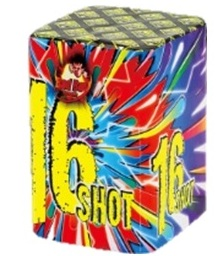 BADBOY 16 SHOT BARRAGE - RRP £13.00 - DON'T LET THIS LITTLE CAKE FOOL YOU WITH ITS SIZE, IT PACKS A GREAT PUNCH AND WILL BLAST 16 SHOTS OF COLOURED EFFECTS INCLUDING PEONY, BROCADE CROWN, CRACKLING AND COCONUTS.