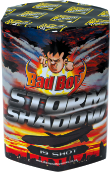 STORM SHADOW 19 SHOT BARRAGE - RRP £25.00 - LOOK ON IN AWE AT THE STORM THAT EMERGES FROM THE SHADOWS OF THE NIGHT AS EACH OF THE 19 MASSIVE SHOTS EXPLODE IN THE SKY WITH EFFECTS INCLUDING STROBES, PEONY, COCONUT TIME RAIN AND CHRYSANTHEMUM.