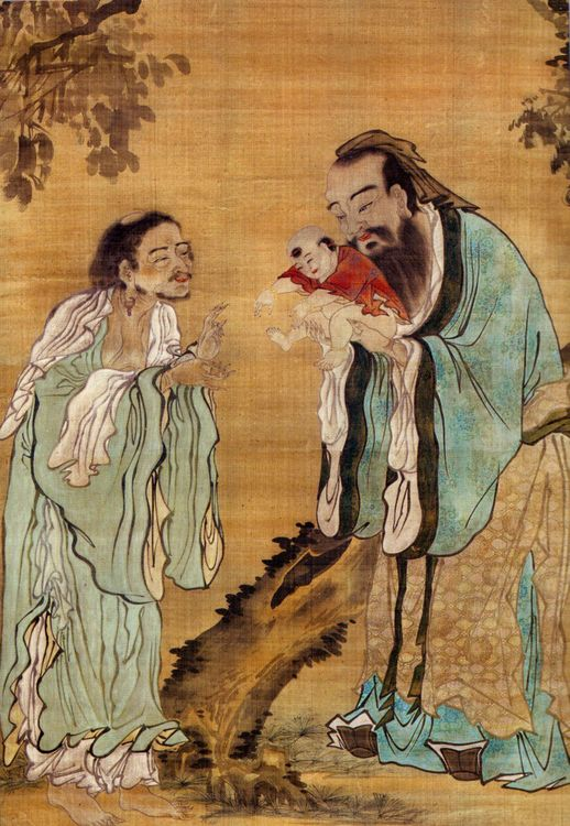 """""""A Qing Dynasty print showing Confucius presenting Gautama Buddha to the philosopher Lao-Tzu."""" This represents Buddhism as a novel philosophy/religion in ancient China in comparison to Confusion and Taoist thought.  www.ancient.eu/image/996/confucius-buddha-and-lao-tzu//"""