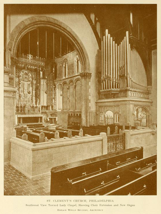 The Choir & Sanctuary after the reconstruction of 1914 by Horace Wells Sellers, Vestryman & Architect.