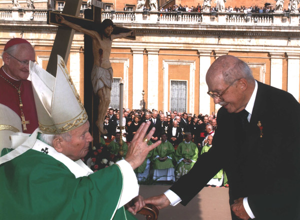 H.I.R.H. Archduke Otto of Austria, oldest son of Emperor Karl, is presented to the Holy Father after communion.