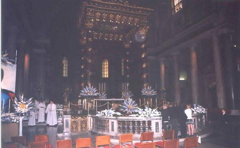 Preparations of the Basilica before the Mass included the placement of many flowers.