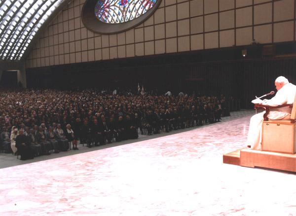 Pope John Paul II addresses the gathered pilgrims.