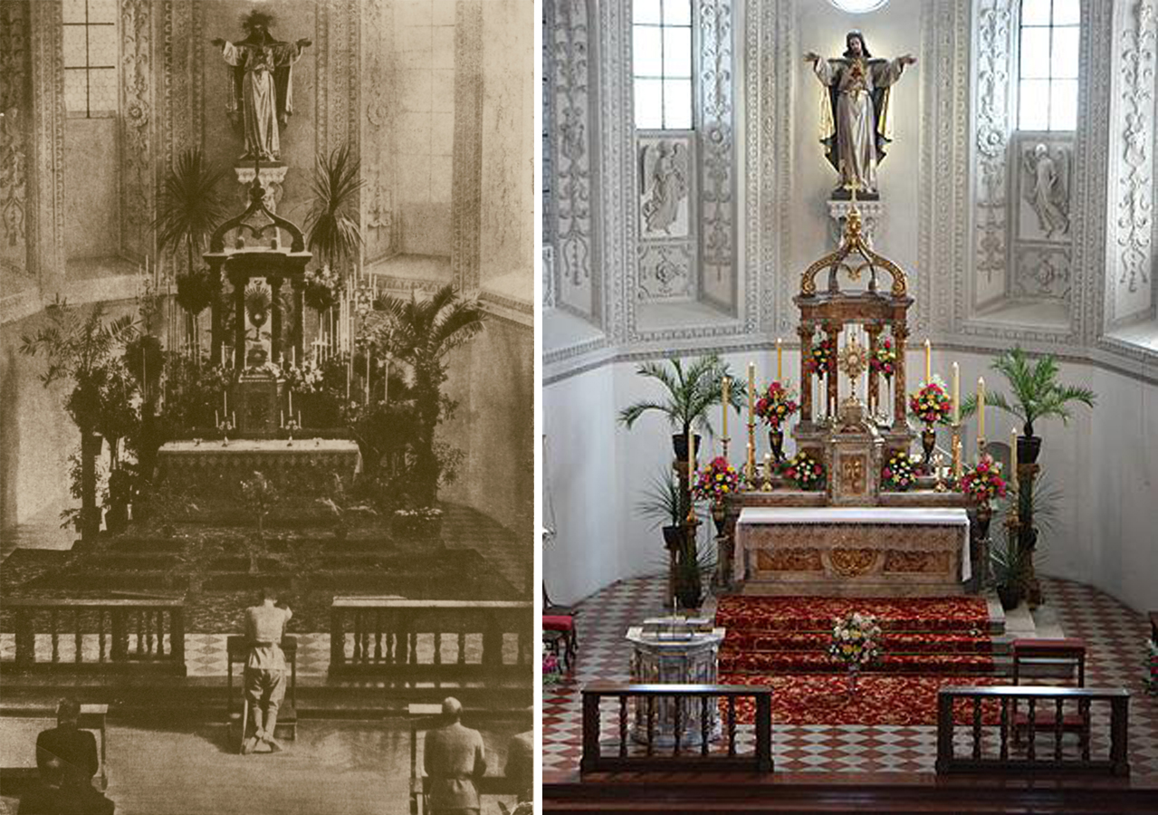 Photo   Left : Blessed Karl kneels in prayer at Sacred Heart Church Hall in Tirol, Austria, before the Sacred Heart of Jesus during exposition of the Most Blessed Sacrament, circa 1916.  Photo righ t: The Church today.  Closed in 1793 as part of Josephinism reforms, Sacred Heart Church was converted to a storage room, armory, and later a theater hall. In 1912, with the help of Archduke Franz Ferdinand, the Daughters of the Heart of Jesus reinaugurated Sacred Heart. Today, Sacred Heart is as vibrant as ever, with the church serving as a place of pilgrimage with the Daughters of the Heart of Jesus maintaining perpetual adoration of the Most Blessed Sacrament. Since 2001, there has been an annual pilgrimage to the Church. For more information about the Church and pilgrimage,  click here.