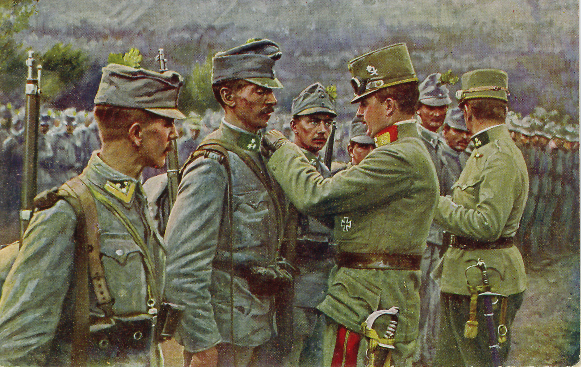 Emperor Karl Awards Medals to a Soldier on the battlefield, ca. 1916