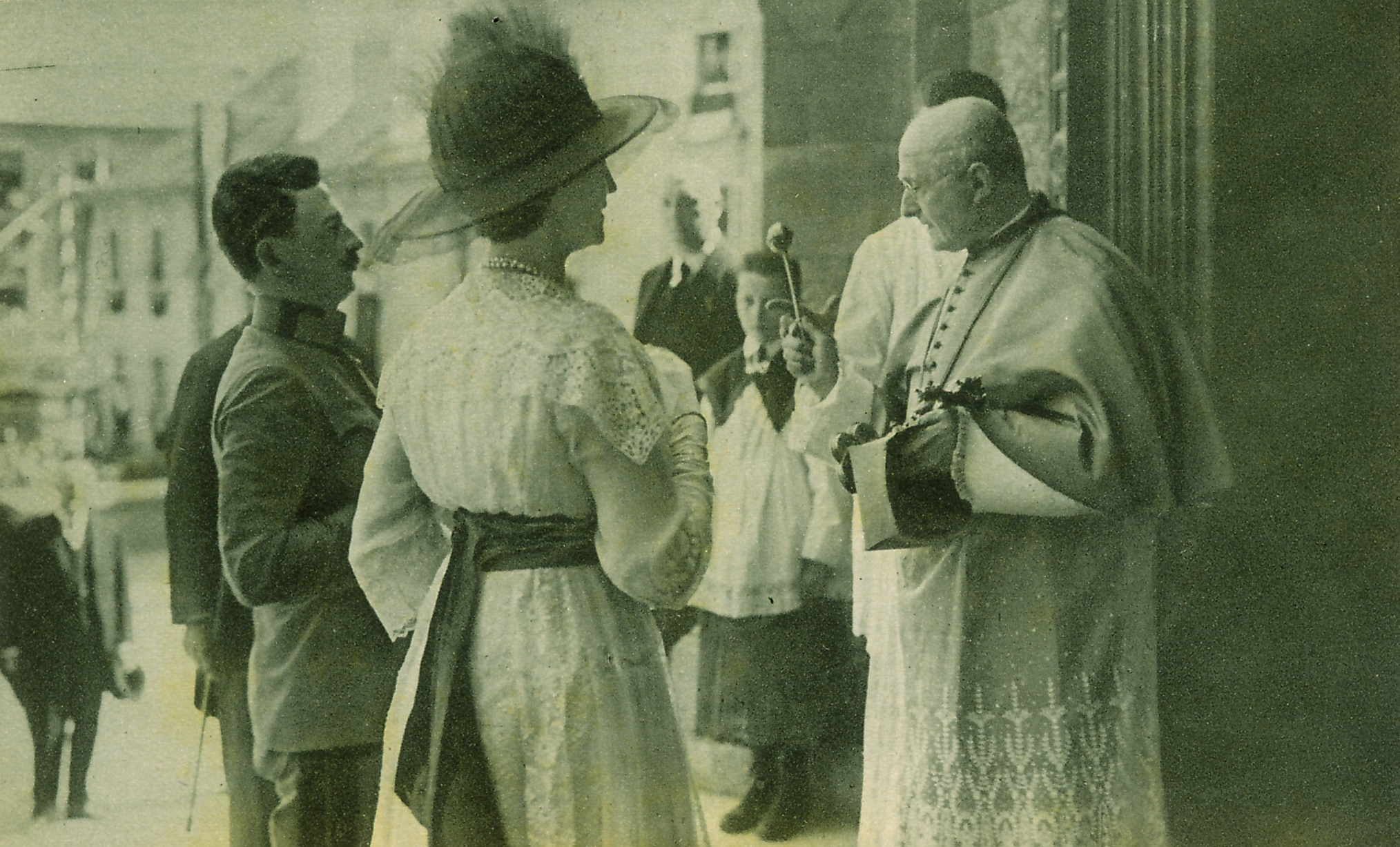 While visiting troops in   Bratislava,Emperor Karl and Empress Zita visited S  aint Martin's Cathedral where they received a blessing from the bishop.ca. 1916