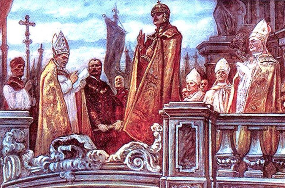 Emperor Karl taking his Coronation Oath at Holy Trinity Column outside Saint Matthias Church, 30 December 1916.
