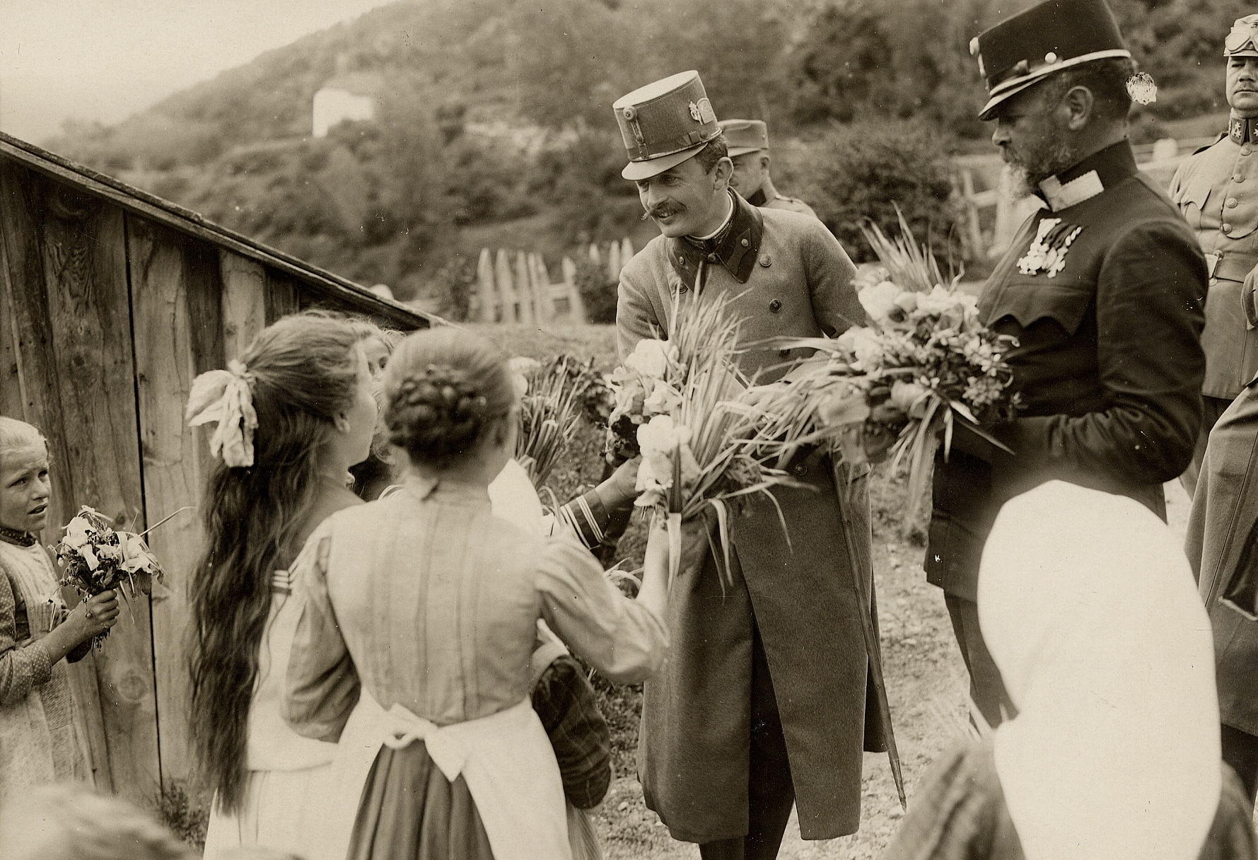 Emperor Karl receives floral gifts from his people.