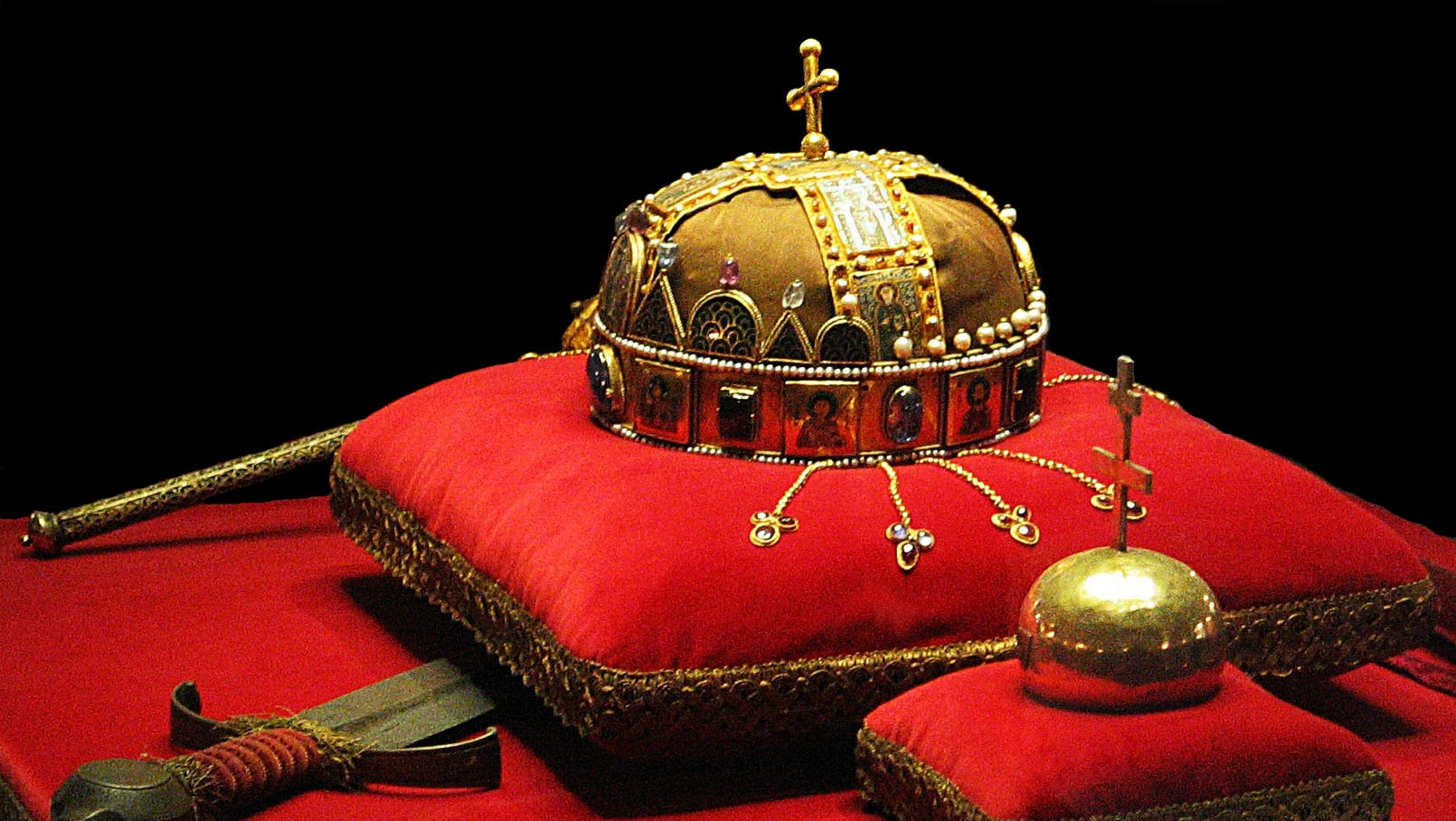Hungarian Regalia - The Crown and Sword of King St. Stephen, the Scepter, and Orb are housed in the Hungarian Parliament Building.