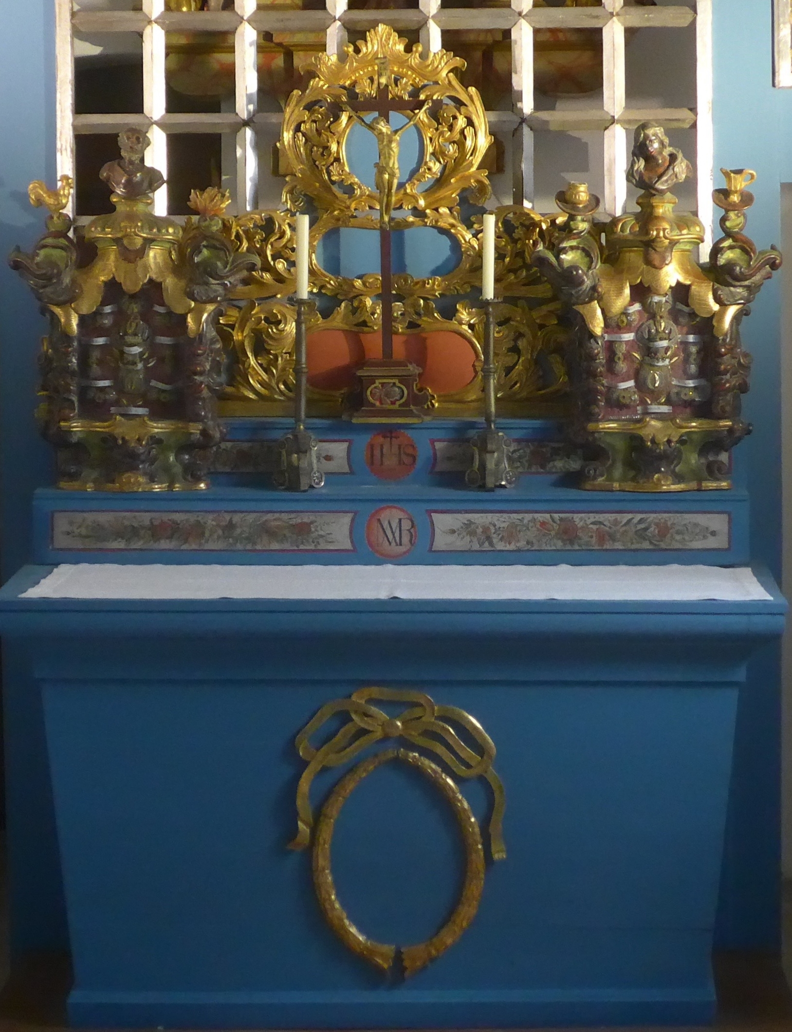 The hearts of Karl and Zita are enshrined behind the altar's grille in the Loreto Chapel at Muri Abbey, Switzerland.