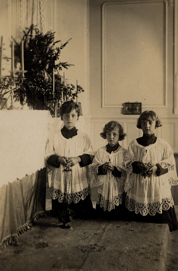 Blessed Karl's sons, Archdukes Otto, Felix, and Robert, as altar boys during the Christmas season in the house chapel during the family's exile in Switzerland.