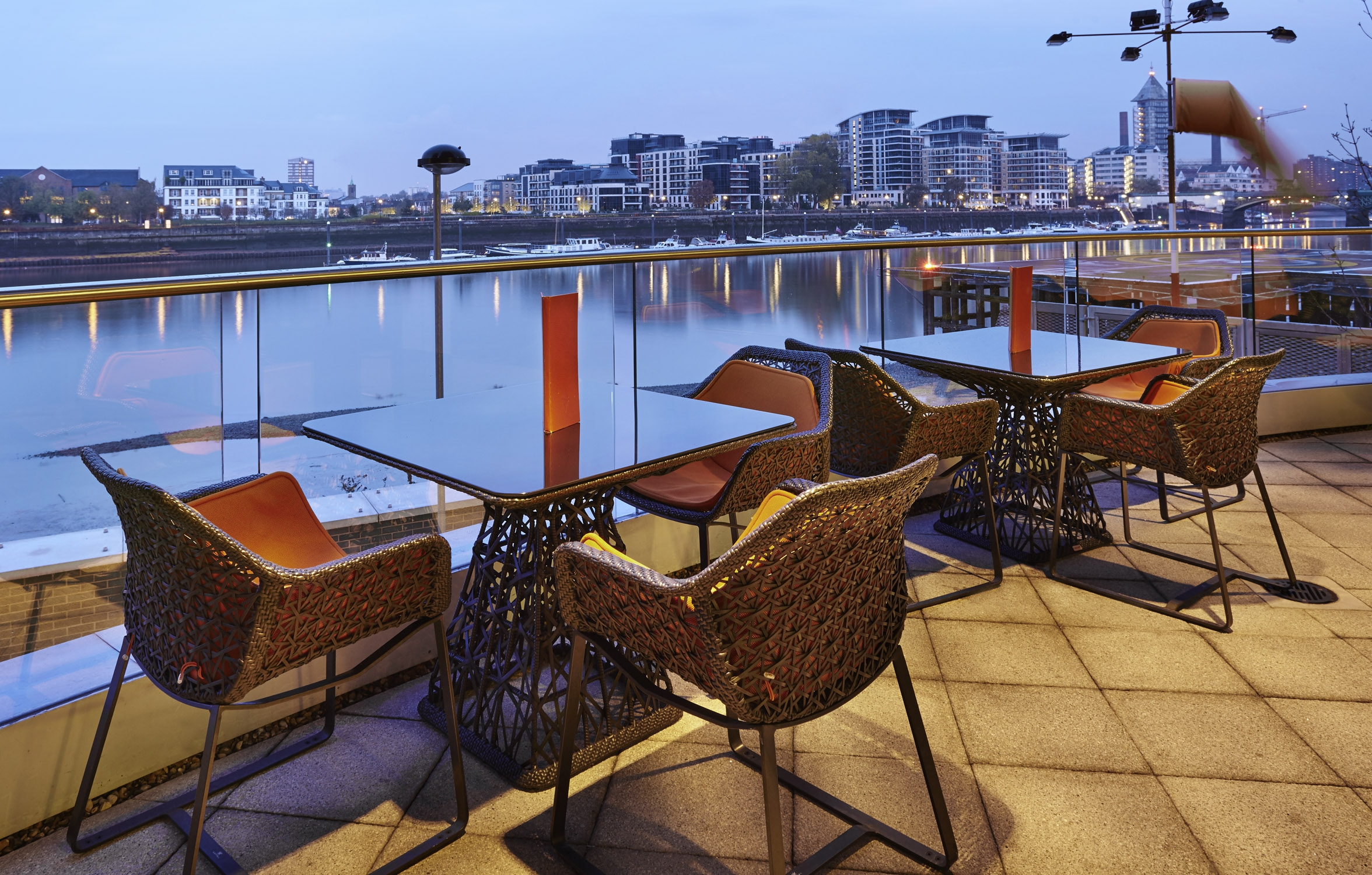 The pad restaurant and bar with outdoor terrace and river views