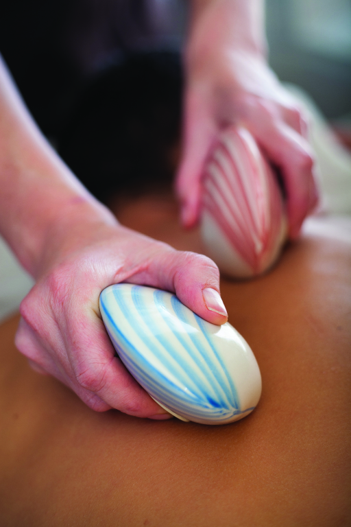 specialist massage techniques, including lava shell