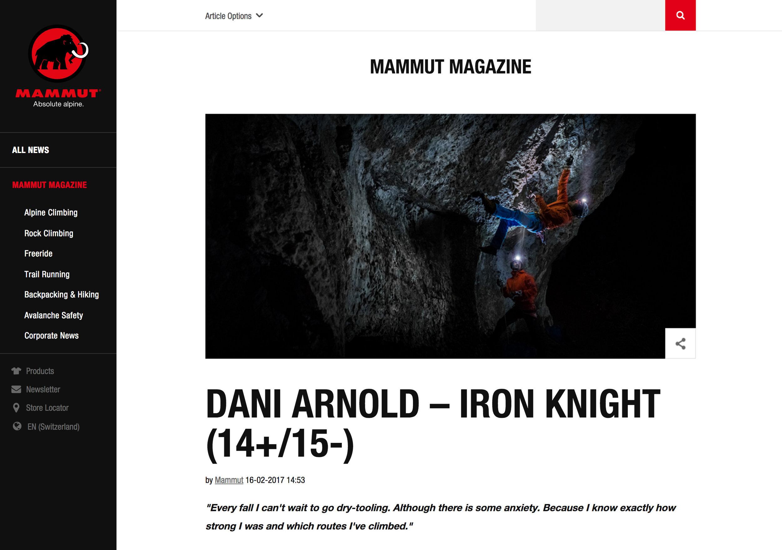 Fotoshooting Mammut Absolut Alpine - Dani Arnold (Iron Knight)