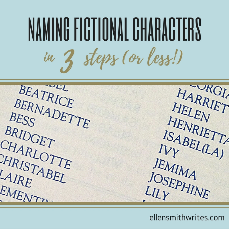 Naming Fictional Characters in 3 Steps (or Less!) from the ellensmithwrites.com blog It's easy for authors to get caught up in finding the perfect name for each character. Ellen Smith shares the three most important considerations for naming fictional characters: meaning, culture, and practicality.