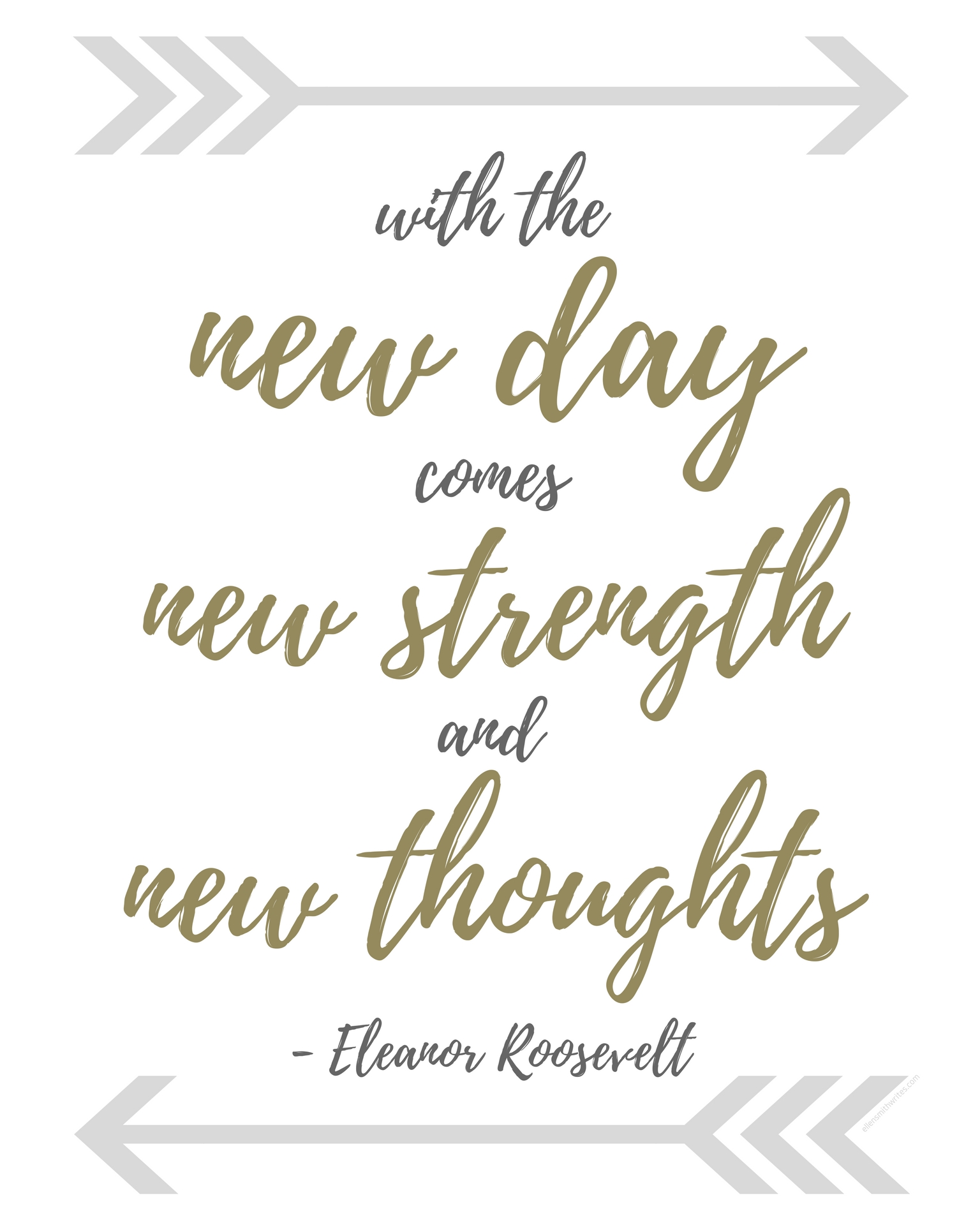 "Eleanor Roosevelt quote: ""With the new day comes new strength and new thoughts."" 