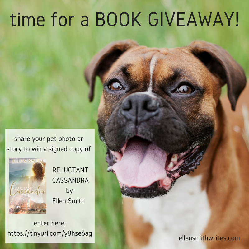 Time for a Book Giveaway! Reluctant Cassandra is 3 Years Old Today! || Enter your pet photo or story before June 9, 2018 for a chance to win a signed copy of Reluctant Cassandra by Ellen Smith. More on the ellensmithwrites.com blog: https://tinyurl.com/y8hse6ag