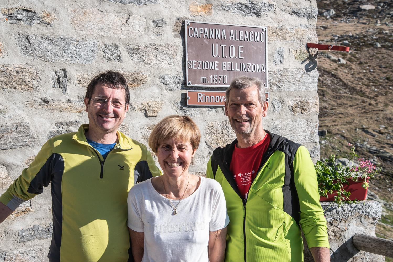 Het trio dat ons met oen armen heeft ontvangen in Capanna Albagno.