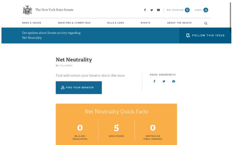 Caption: Screenshot of NYS Senate's Net Neutrality page, taken on 11/6/2018.