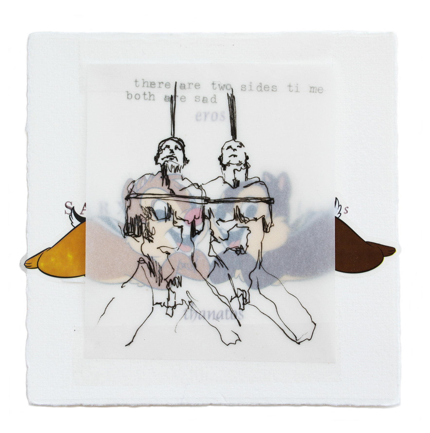 """""""CHIP AND DALE,"""" LETTERPRESS, STICKERS, DRAWING.  CLICK TO ENLARGE"""