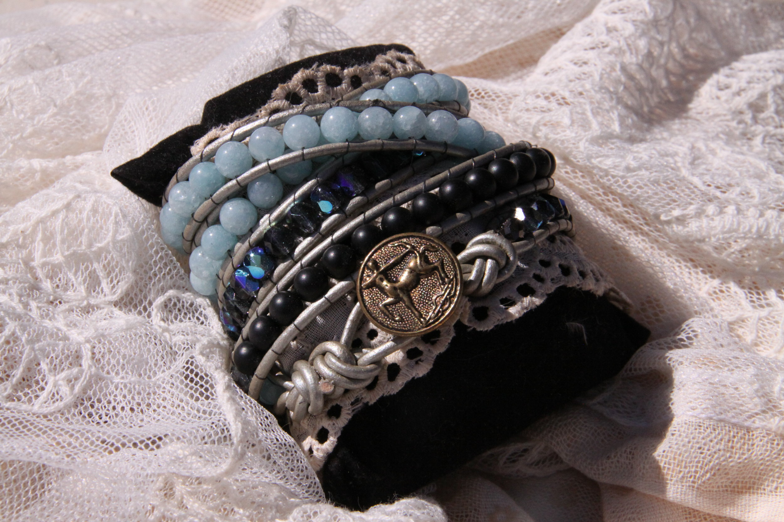 Luxurious leather and fire polished stones   Exquisite Wrap Bracelets    Shop Now
