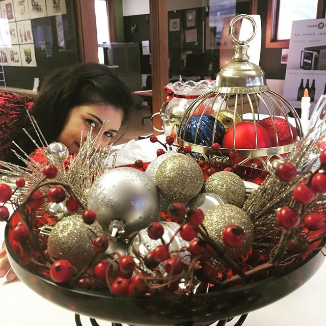 Holiday decorating action today featuring our very own, Rafia! #happyholiday #productdesign #products #innovate #create #westmichigan #hollandmichigan #indistrial #industrialdesign #holidays #red #decorate #decoration #decor #gold #creative