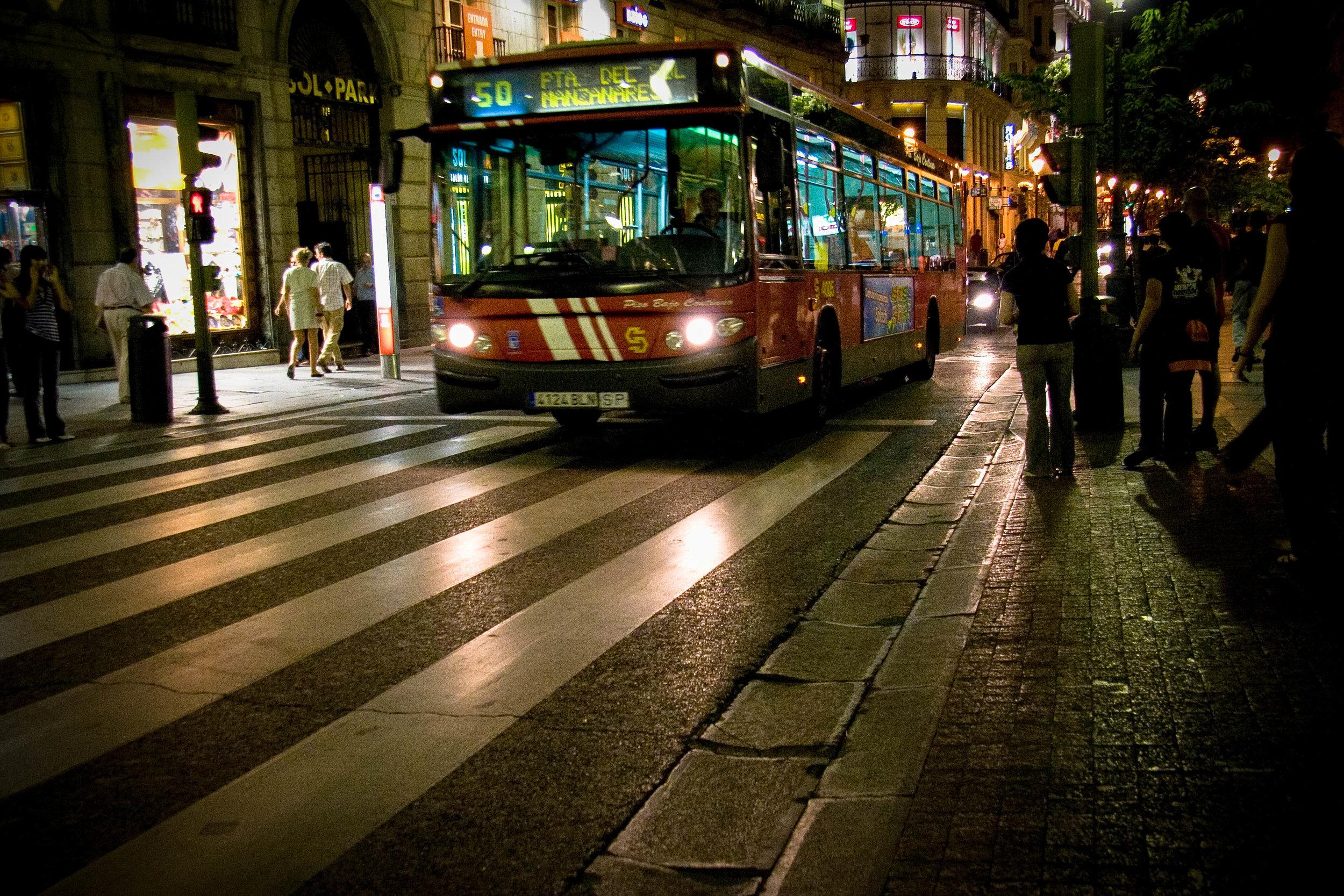Night Bus. Puerta del Sol. Madrid