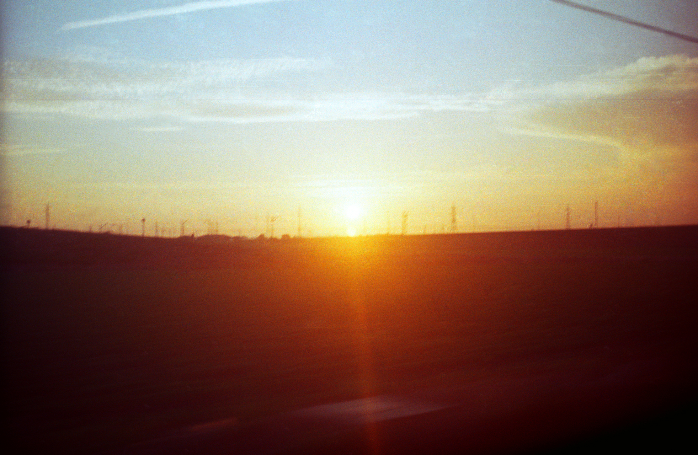 Sunset over the Spanish countryside on the night train
