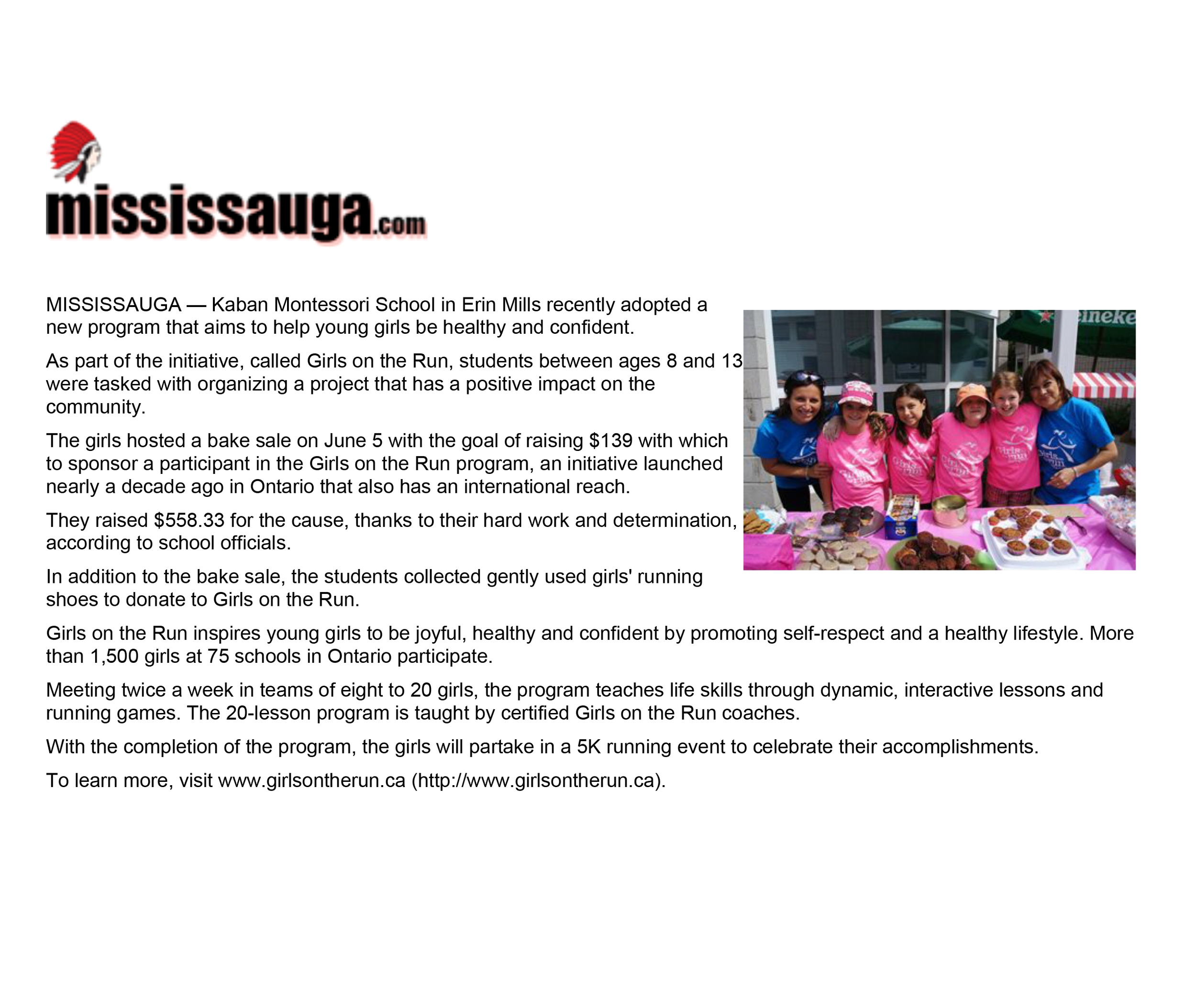 Kaban Montessori in Mississauga participates in Girls on the run program article in Mississauga.com