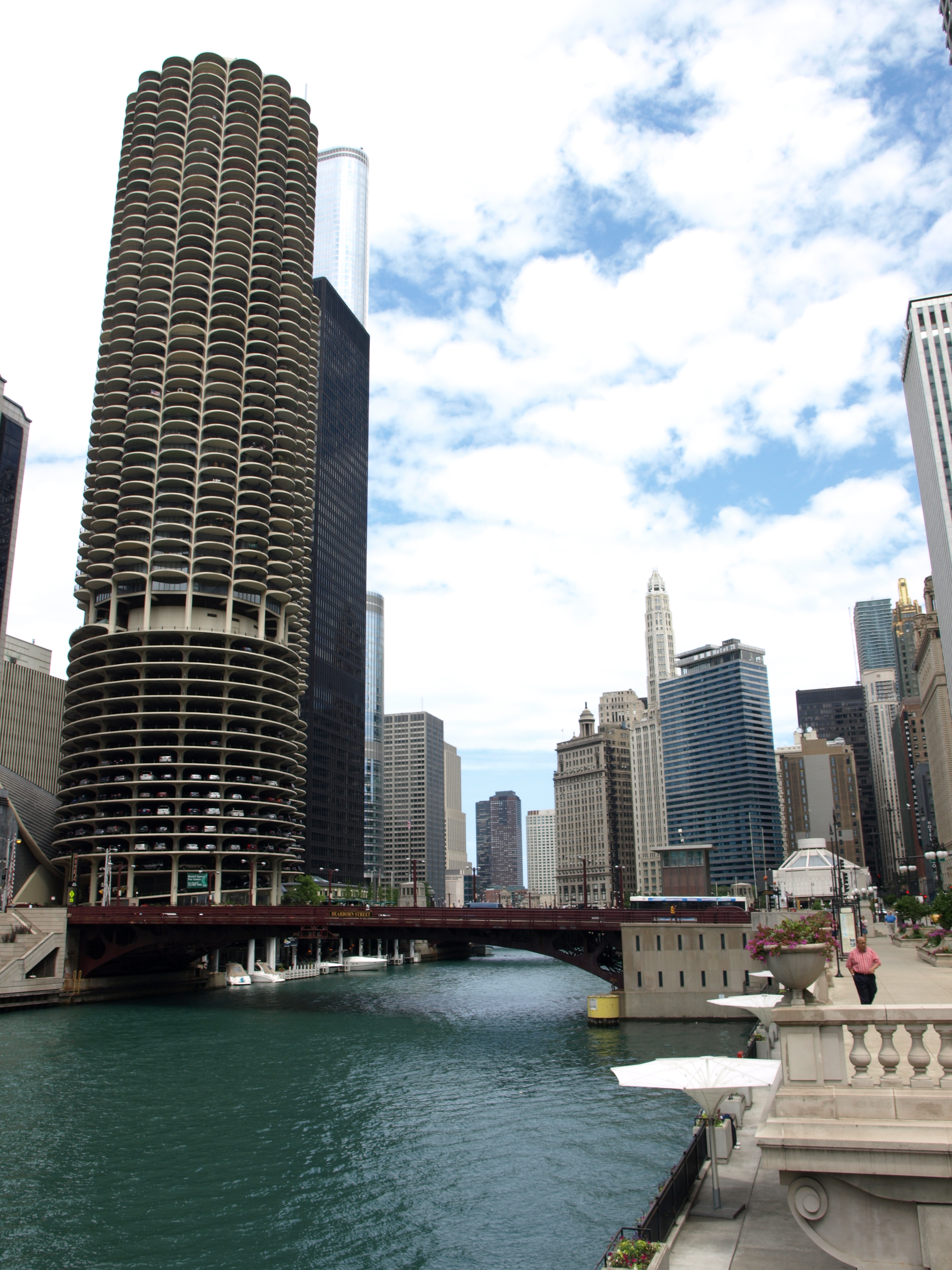 Chicago River with one of the two Marina City towers in view on the left