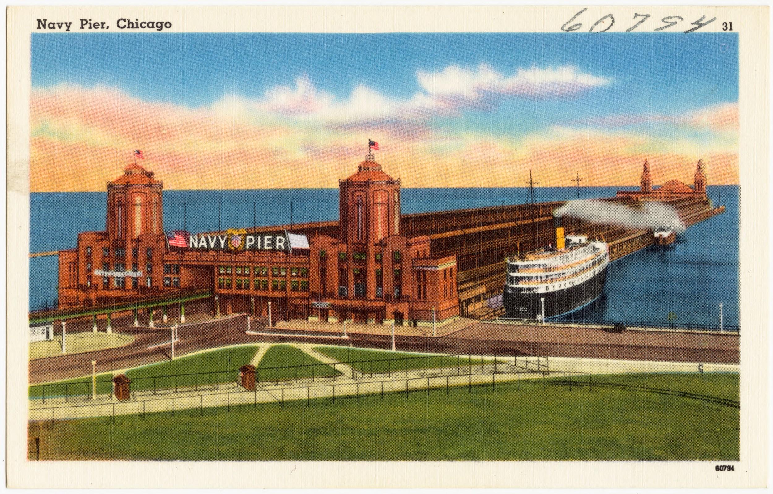 Postcard of Navy Pier, circa 1930-45
