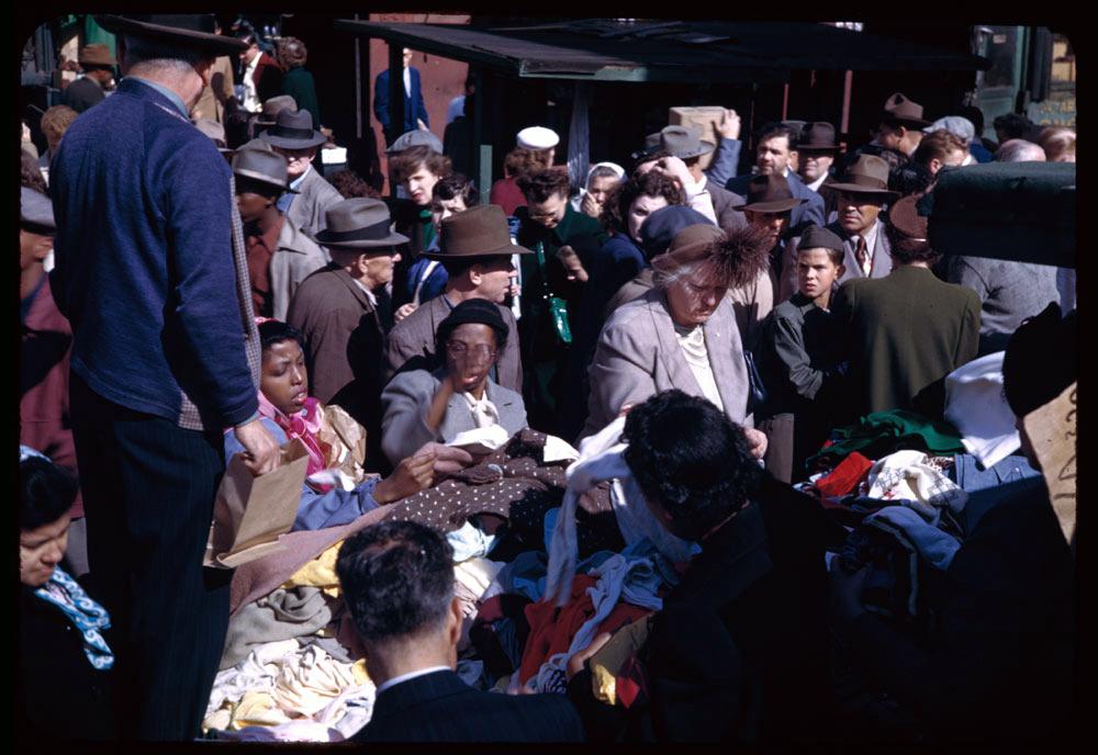Women Shop for Silk on Maxwell Street, 1950