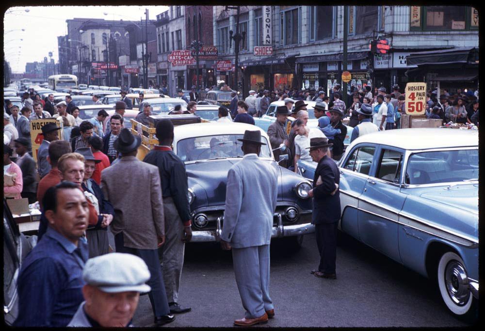 Traffic snarl on Halsted near Maxwell Street, 1958.
