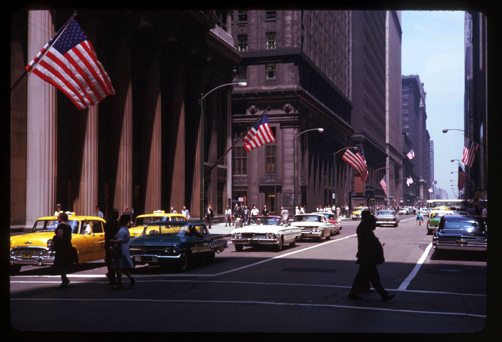 Looking up LaSalle from the Board of Trade, 1963.