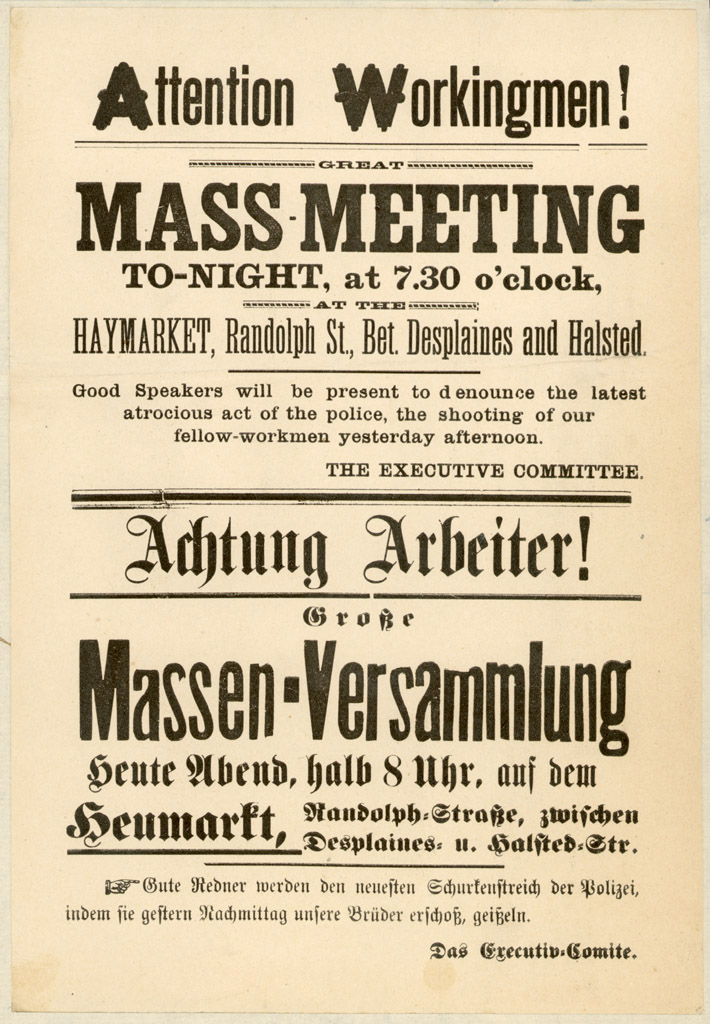 Poster calling for the fateful gathering at Haymarket Square in May 1886