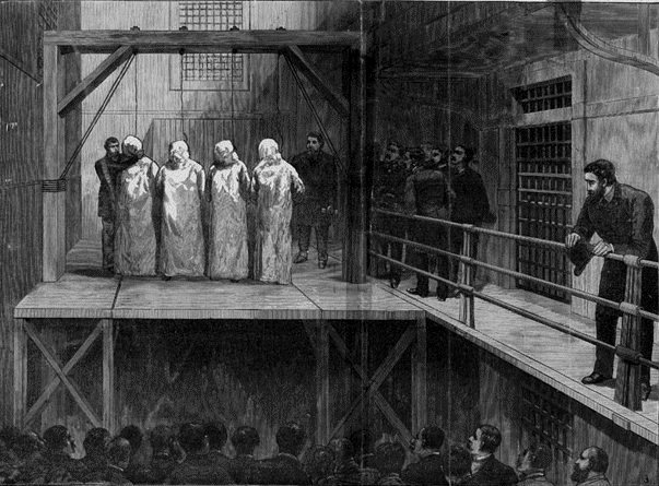 Illustration of the hanging of four of the anarchists convicted of killing police at Haymarket