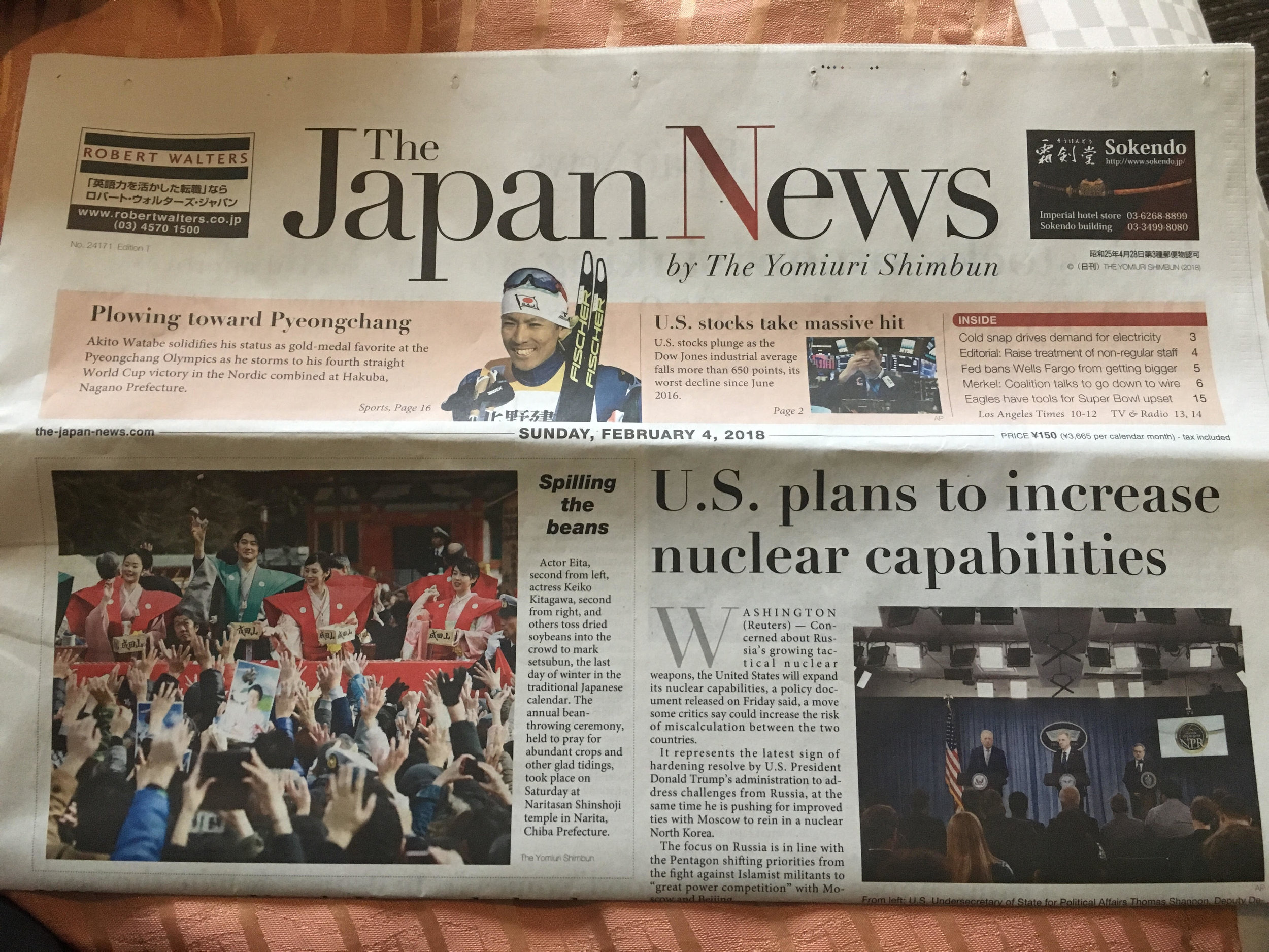 """Headline of The Japan News on our first morning in Tokyo, """"US plans to increase nuclear capabilities"""""""