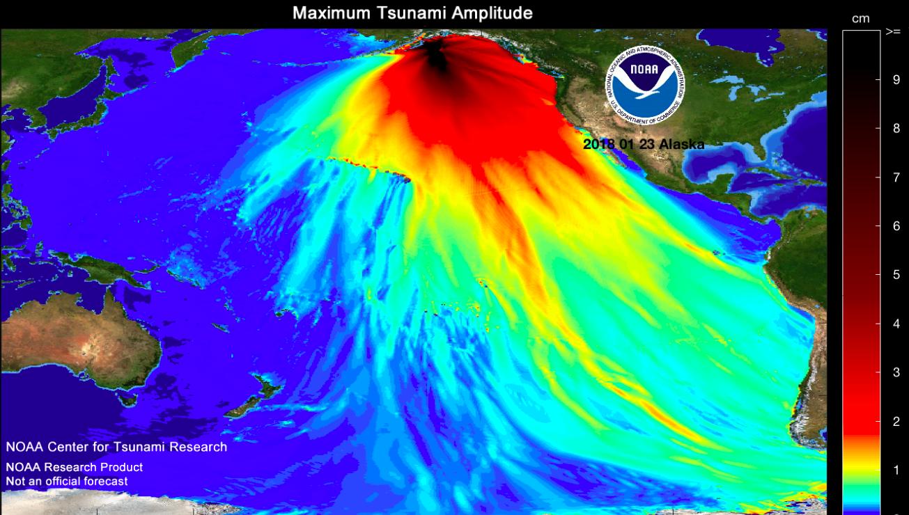 Kodiak Earthquake (NOAA, 2018)(4) A similar map from January 23, 2018.