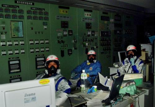 Operators at Fukushima Dai-ichi in a completely dark control room.