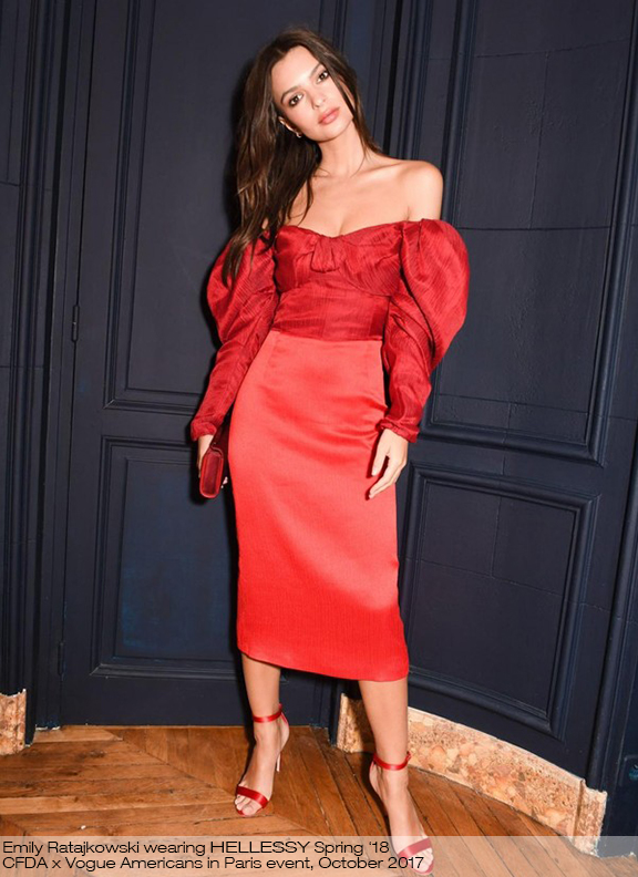 Emily Ratajkowski wearing the SS18 Thelma dress to the CFDA x Vogue Magazine 'Americans in Paris' Event