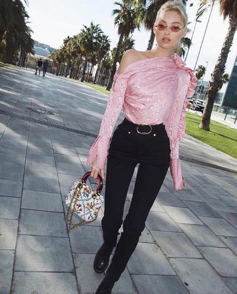 Elsa Hosk wearing the AW18 Belle top