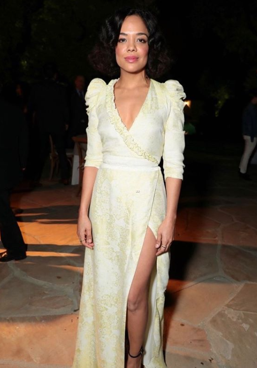 Tessa Thompson wearing the Lita Acid Yellow Dress to the Beverly Hills' Creed II Screening