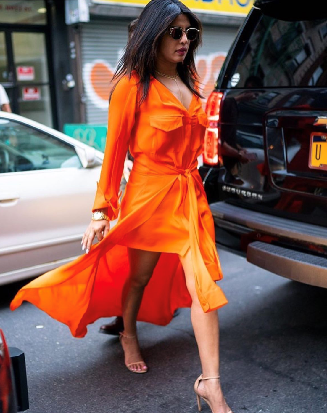 Priyanka Chopra wearing the Pre-Fall 2019 Overture Flame Shirtdress in New York City