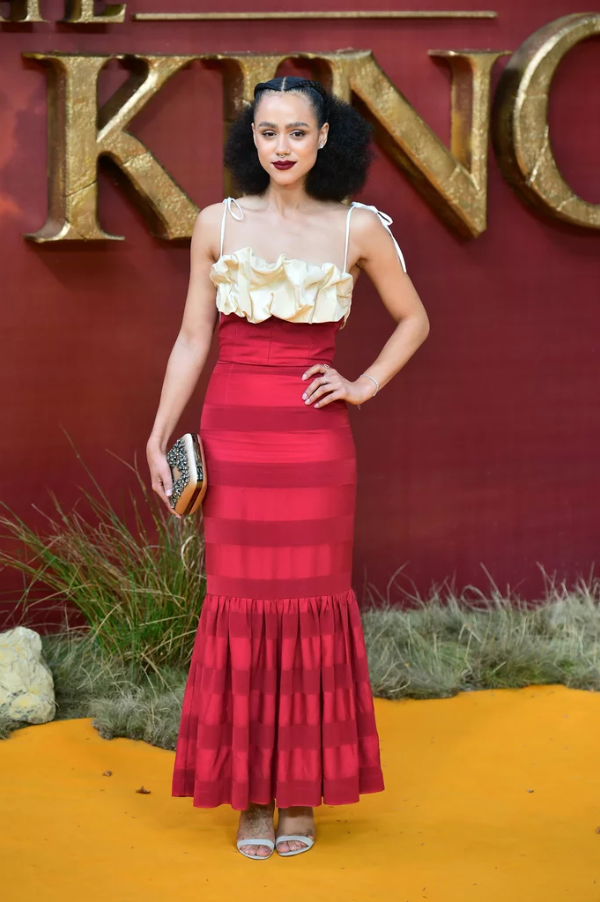 Nathalie Emmanuel wearing the S19 Rosie dress to the Lion King London Premiere