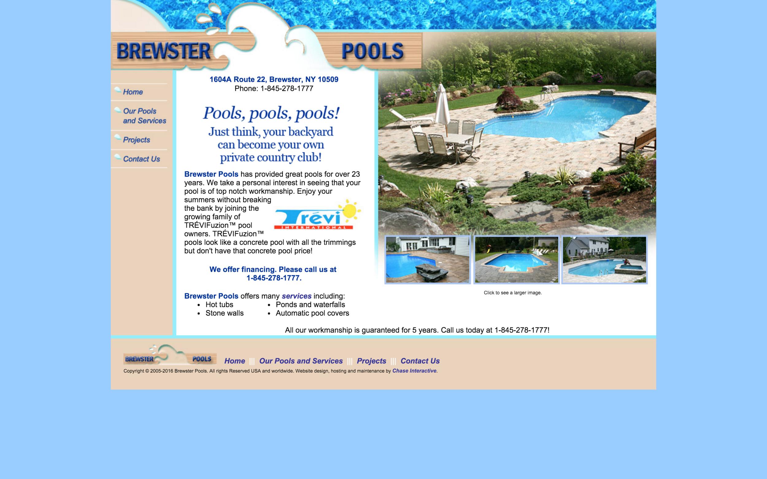 BEFORE:  Pool Builder website before Halstead Media's redesign.