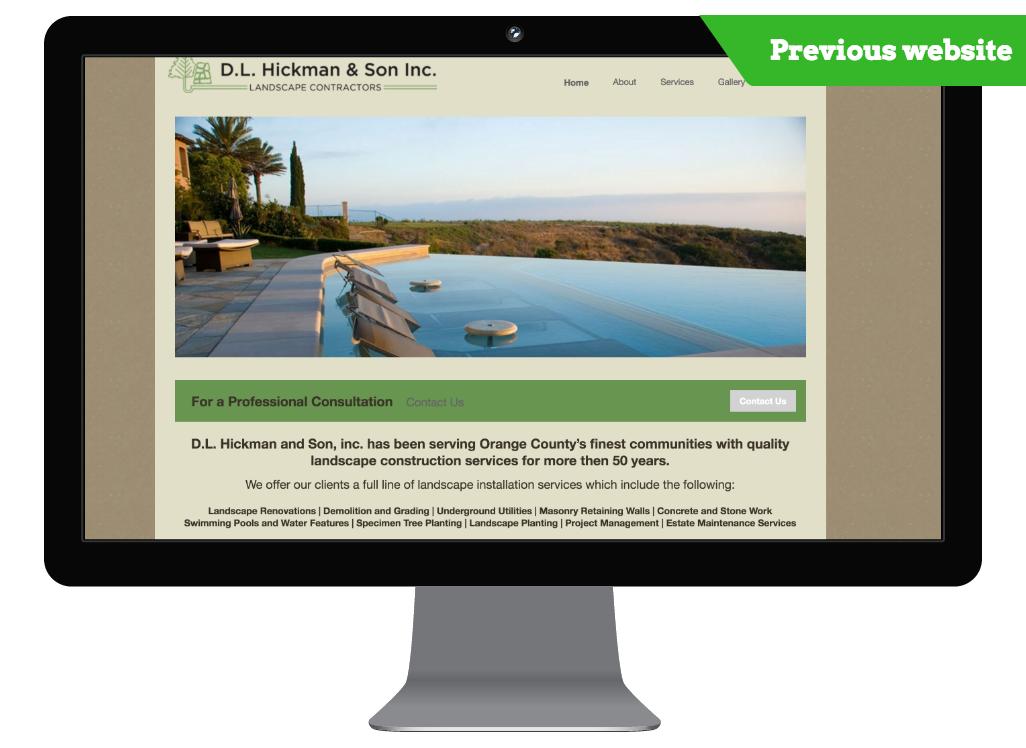 Newport Beach, CA previous website of a landscape construction company