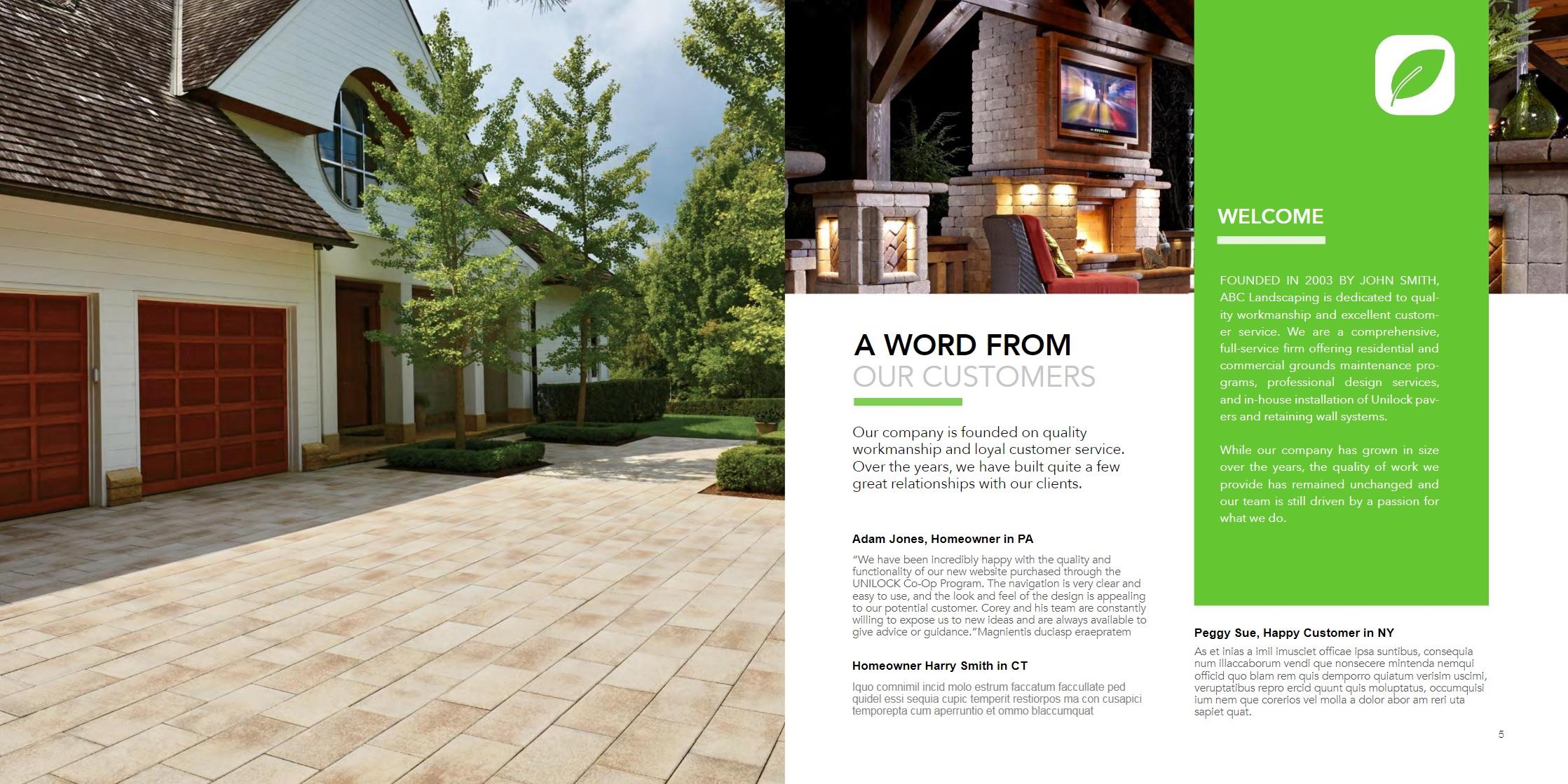 Square brochure - landscape marketing in Florida, including Jacksonville and Miami FL