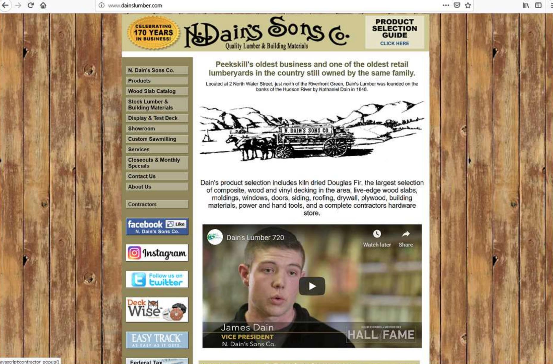 Dain's Lumber in Peekskill old website